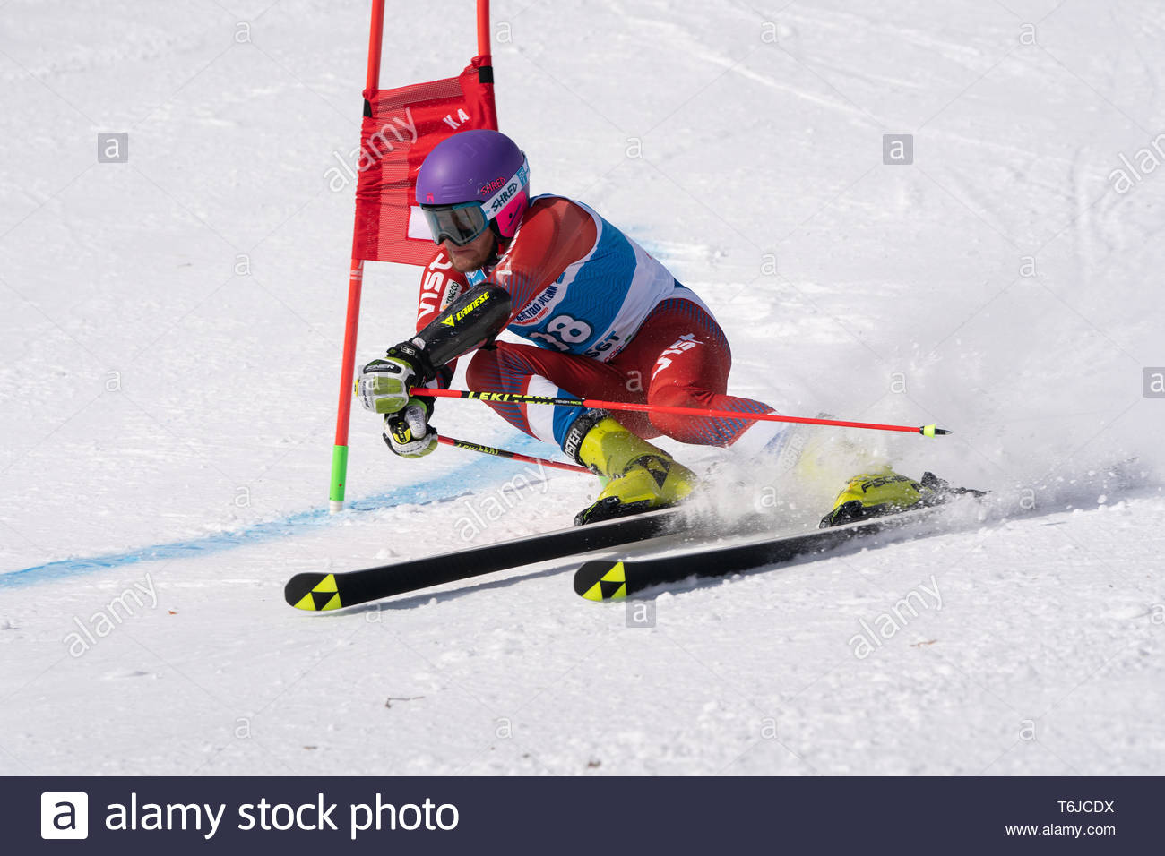 KAMCHATKA PENINSULA, RUSSIA - APR 1, 2019: Russian Alpine Skiing Cup, International Ski Federation (FIS) Championship - giant slalom. Mountain skier K - Stock Image