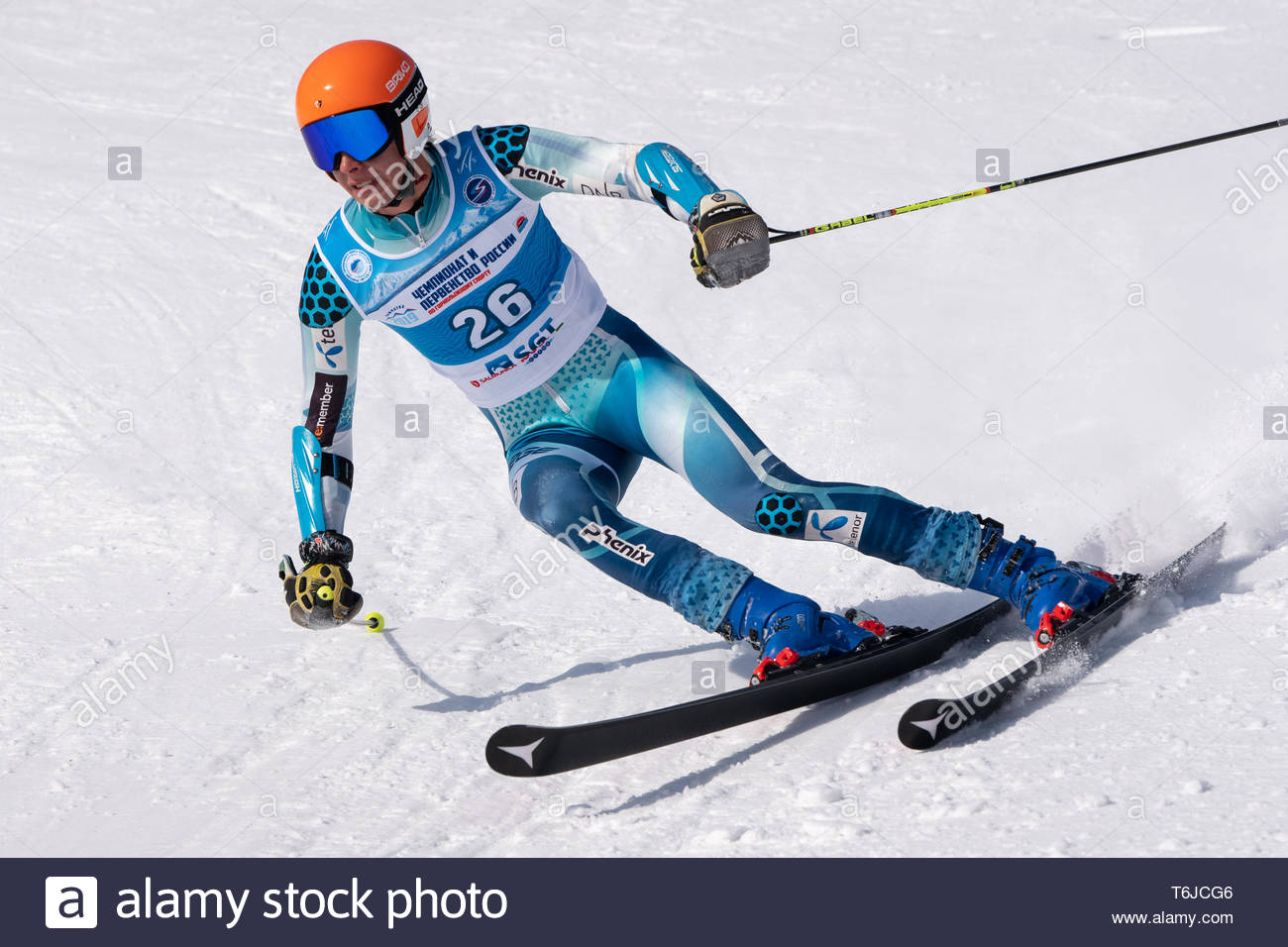 KAMCHATKA PENINSULA, RUSSIA - APR 1, 2019: Russian Alpine Skiing Cup, International Ski Federation (FIS) Championship, giant slalom. Mountain skier Lo - Stock Image