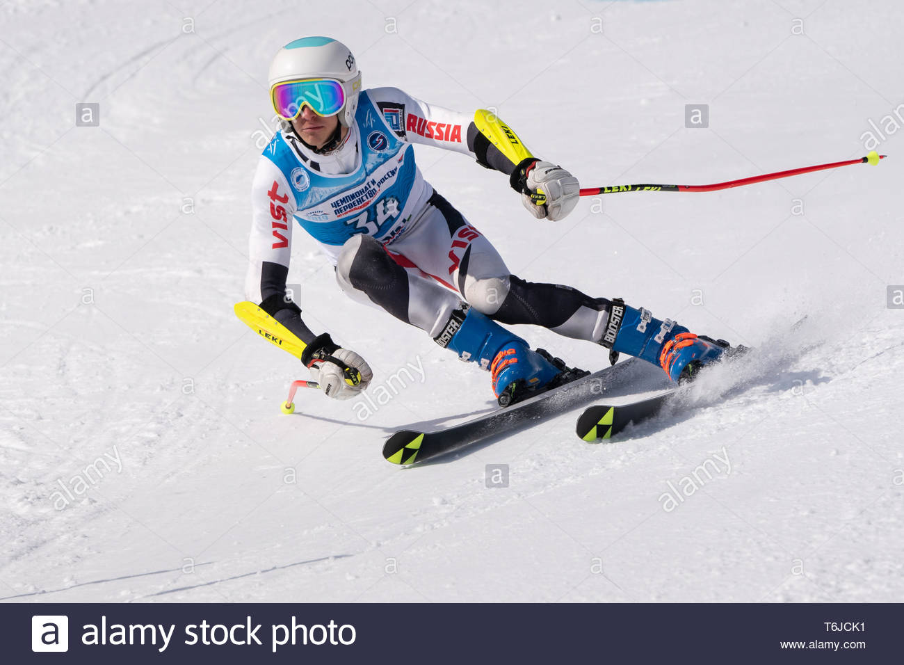 KAMCHATKA PENINSULA, RUSSIA - APR 1, 2019: Mountain skier Bilmak George (St. Petersburg) skiing down slope. Russian Alpine Skiing Cup, International S - Stock Image