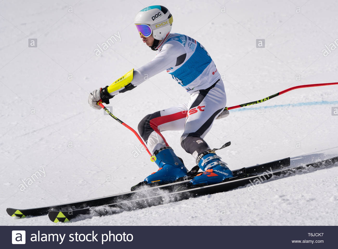 KAMCHATKA PENINSULA, RUSSIA - APR 1, 2019: Russian Alpine Skiing Cup, International Ski Federation (FIS) Championship, giant slalom. Mount skier Bilma - Stock Image