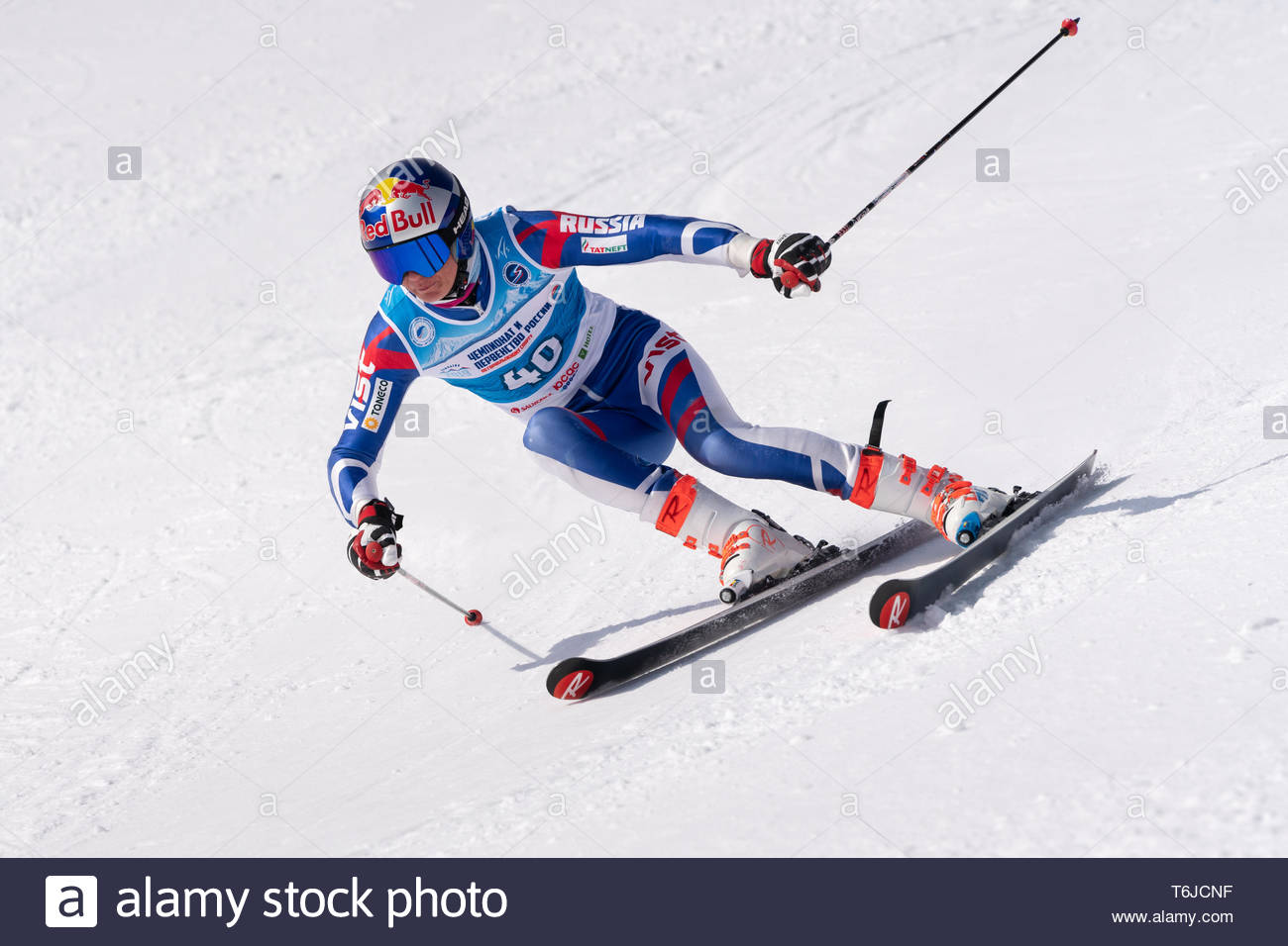 KAMCHATKA PENINSULA, RUSSIA - APR 1, 2019: Mountain skier Mogilyuk Alexandr (Kamchatka) skiing down mount slope. Russian Alpine Skiing Cup, Internatio - Stock Image