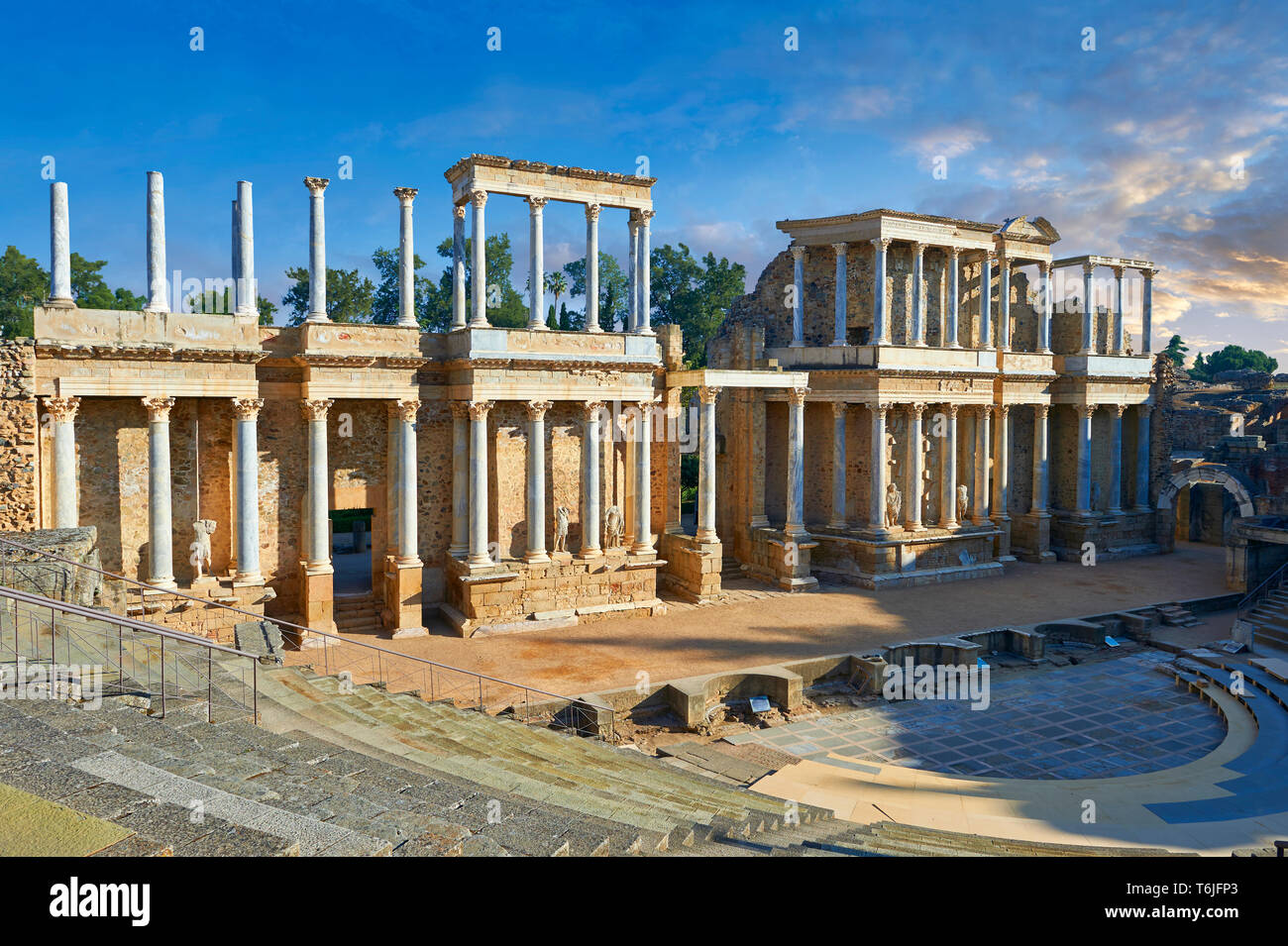 Roman theatre of the Roman colony of Emerita Augusta (Mérida) dedicated by the consul Marcus Vipsanius Agrippa and built in 15BC, Merida Spain - Stock Image