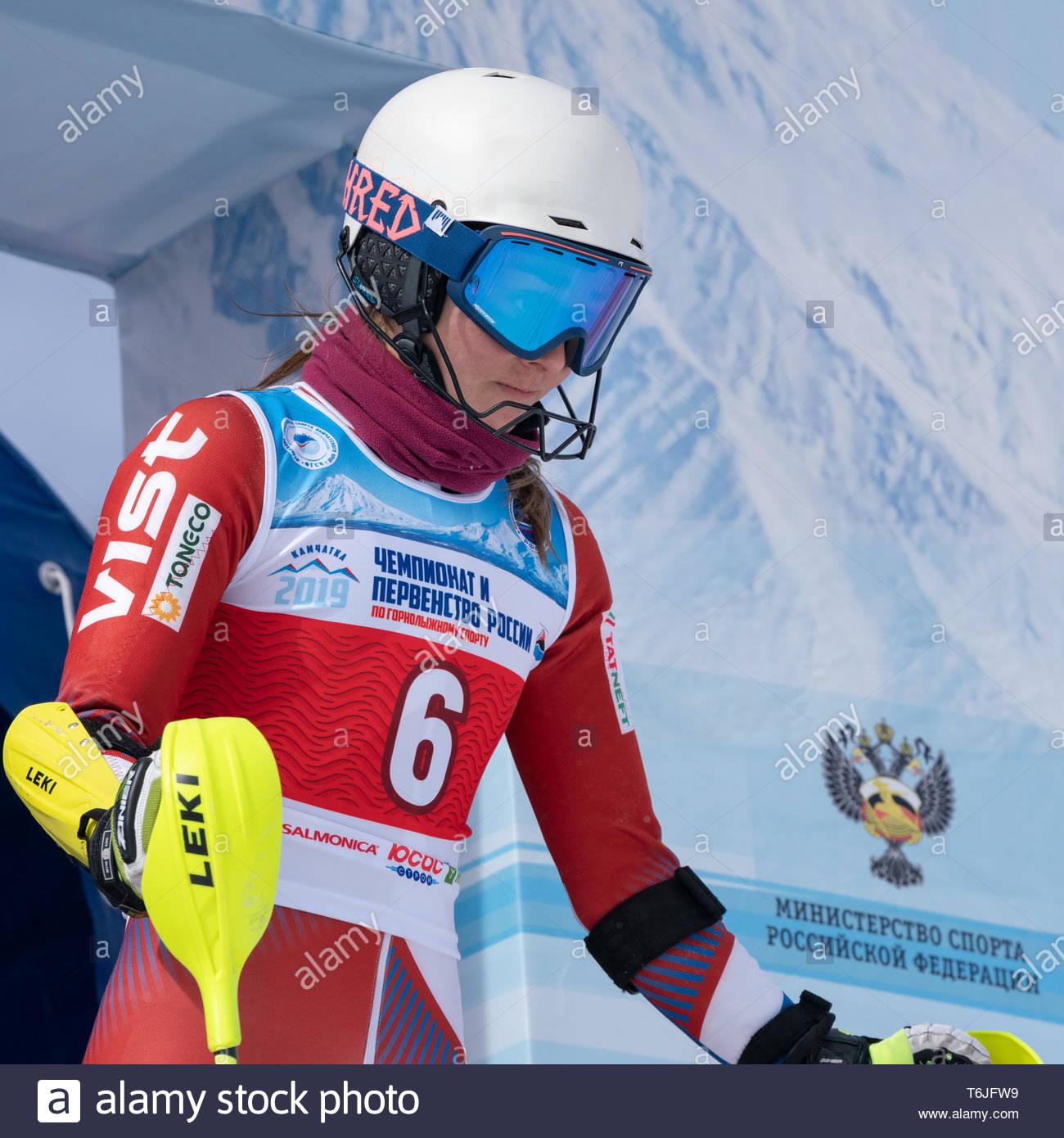 MOROZNAYA MOUNTAIN, KAMCHATKA PENINSULA, RUSSIA - MAR 29, 2019: Russian Alpine Skiing Championship, International Ski Federation Championship, slalom. - Stock Image