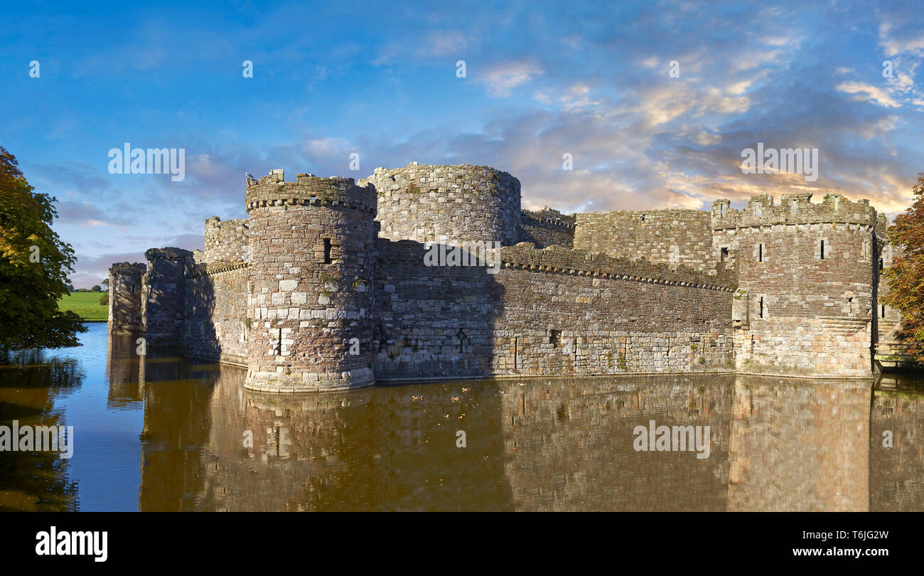 Beaumaris Castle, looking towards Snowdonia,  built in 1284 by Edward 1st, considered to be one of the finest example of 13th century military archite - Stock Image