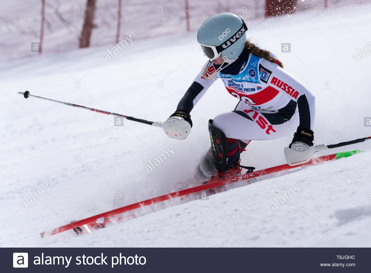MOROZNAYA MOUNTAIN, KAMCHATKA PENINSULA, RUSSIA - MARCH 29, 2019: Russian Alpine Skiing Cup, International Ski Federation Championship, slalom. Mount  - Stock Image