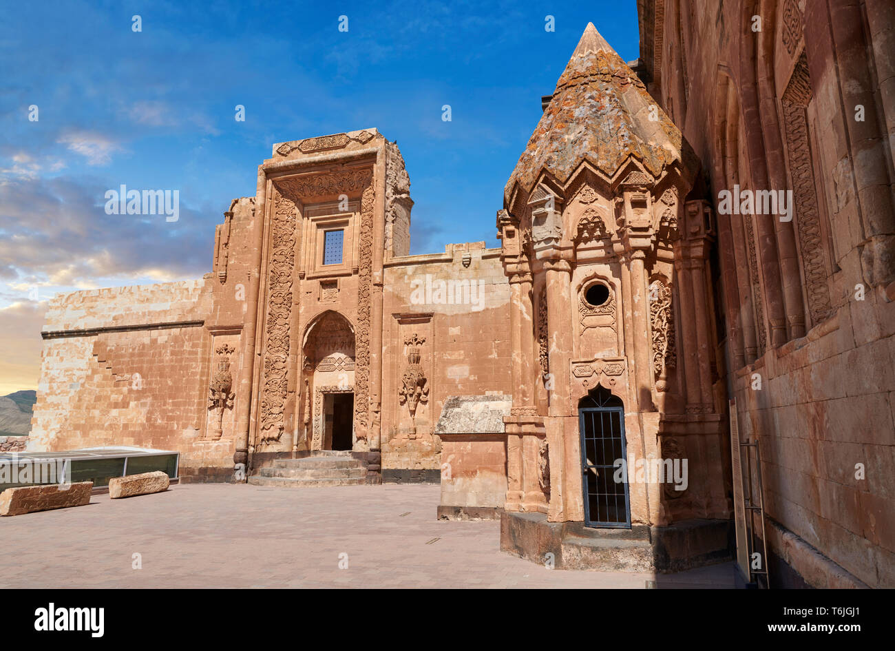 Courtyard and  entrance to the mausoleum of the 18th Century Ottoman architecture of the Ishak Pasha Palace Turkey Stock Photo