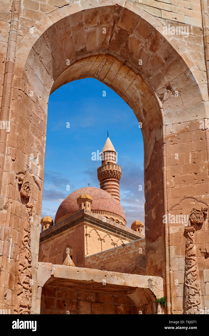 Minarete of the Mosque of the 18th Century Ottoman architecture of the Ishak Pasha Palace (Turkish: İshak Paşa Sarayı) ,  Agrı province of eastern Tur Stock Photo