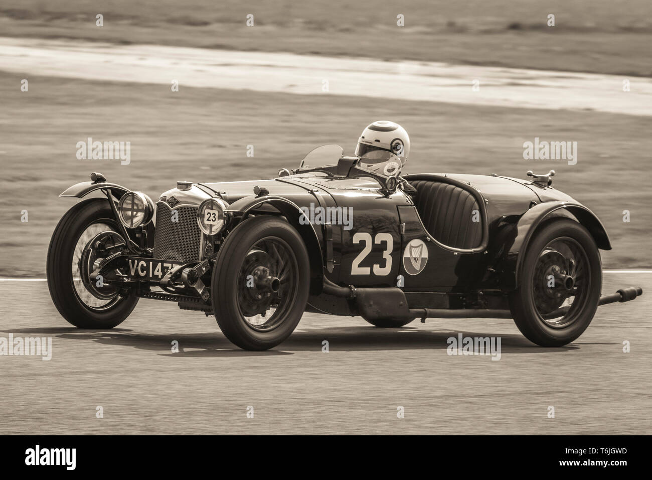 1929 Riley Brooklands with driver Ian Standing during the John Duff Trophy race at the 77th Goodwood GRRC Members Meeting, Sussex, UK. - Stock Image