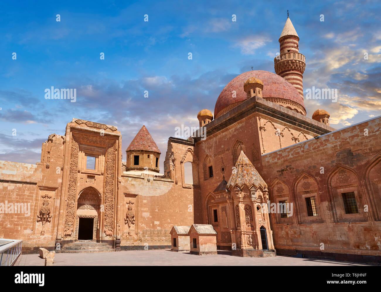 Courtyard of the 18th Century Ottoman architecture of the Ishak Pasha Palace (Turkish: İshak Paşa Sarayı) ,  Ağrı province of eastern Turkey. Stock Photo