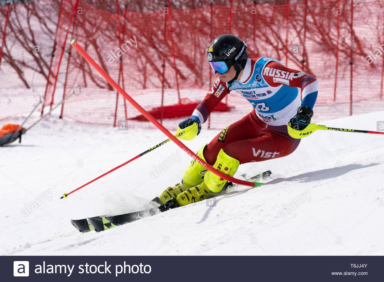 MOROZNAYA MOUNT, KAMCHATKA, RUSSIA - MARCH 29, 2019: Russian Alpine Skiing Championship, International Ski Federation Championship, slalom. Mountain s - Stock Image