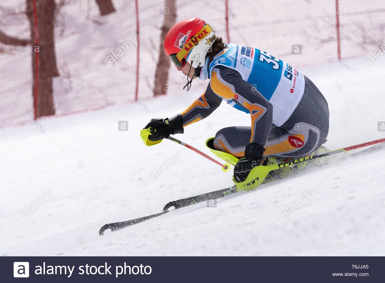 MOROZNAYA MOUNTAIN, KAMCHATKA PENINSULA, RUSSIA - MAR 29, 2019: International Ski Federation Championship, Russian Alpine Skiing Championship, slalom. - Stock Image