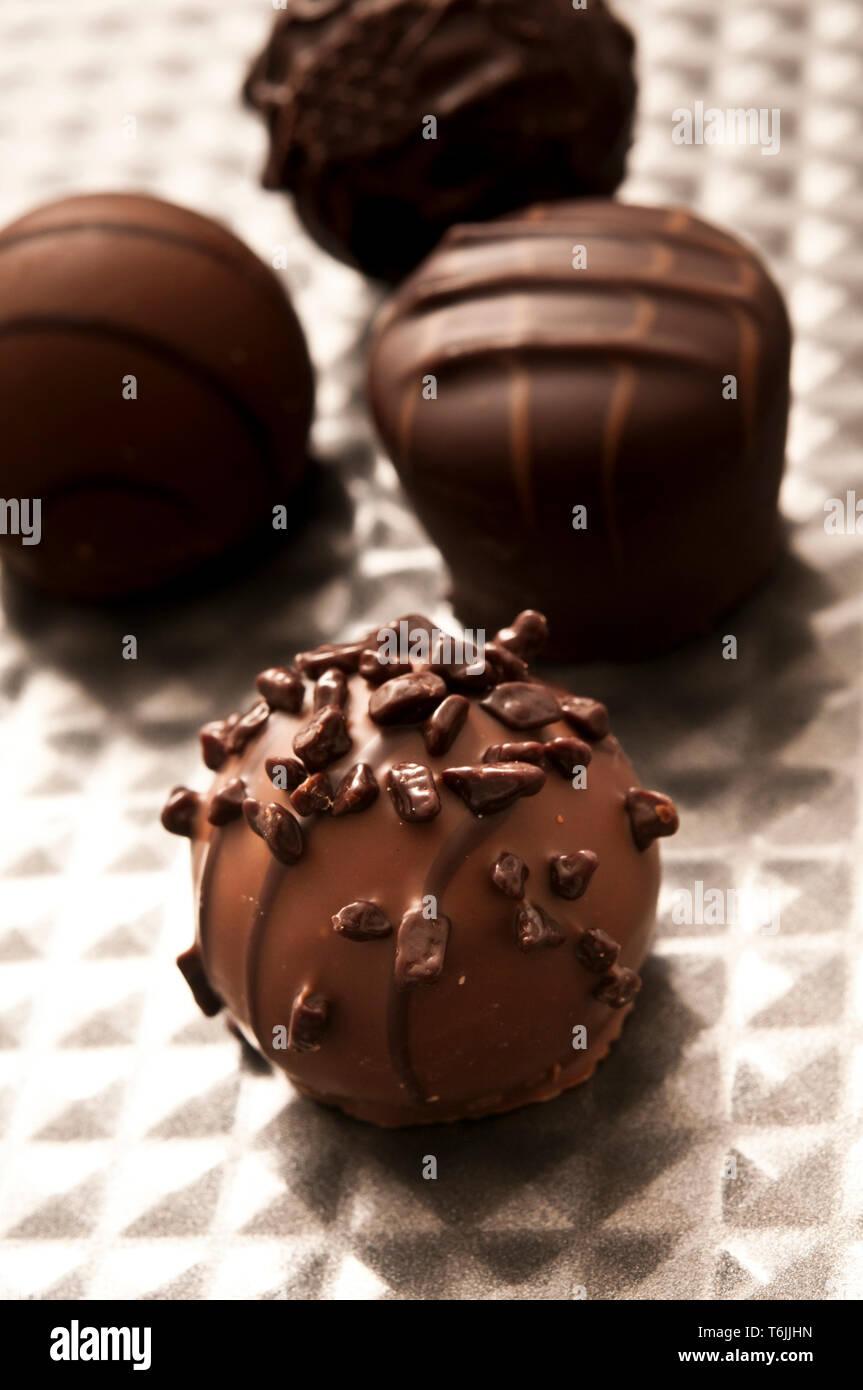 Belgian chocolate pralines or bonbons - Stock Image