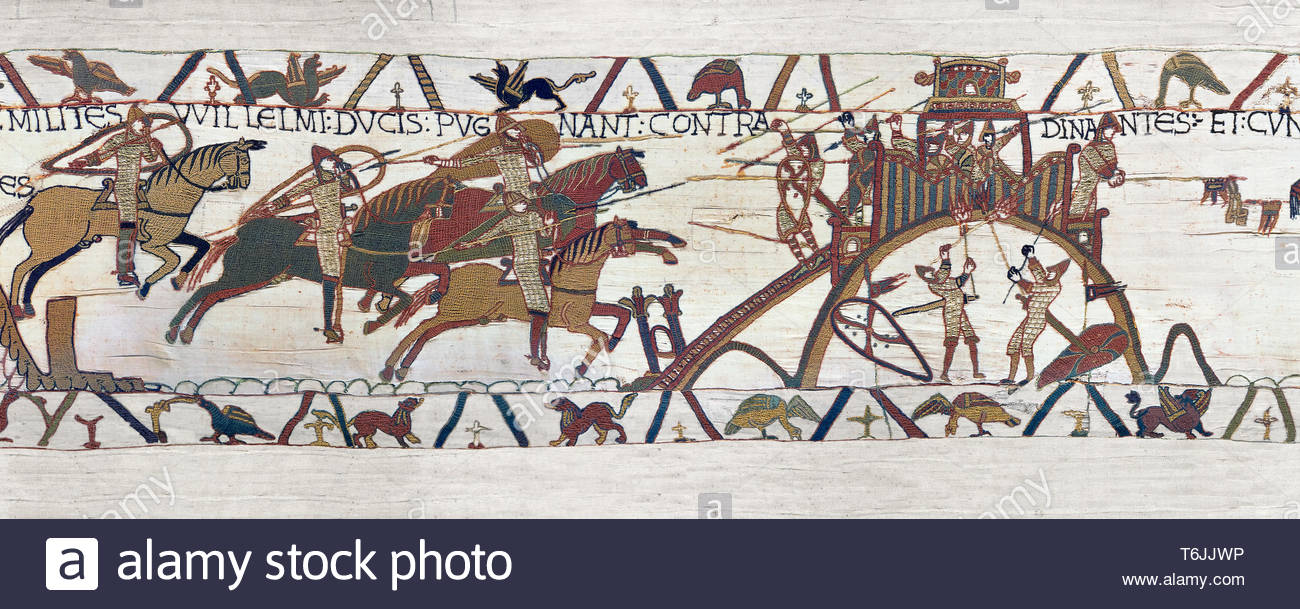Bayeux Tapestry Scene 19 - Normans attack Dinan - Stock Image
