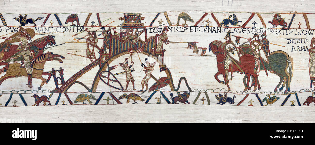 Bayeux Tapestry Scene 19 - After the Norman attacjk of Dinan the Duke of Brittany surrenders and hands over the city keys to Duke William - Stock Image