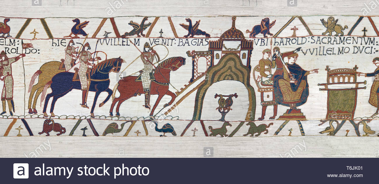 Bayeux Tapestry Scene 22 - Harold and  Duke William return to Bayeux together - Stock Image