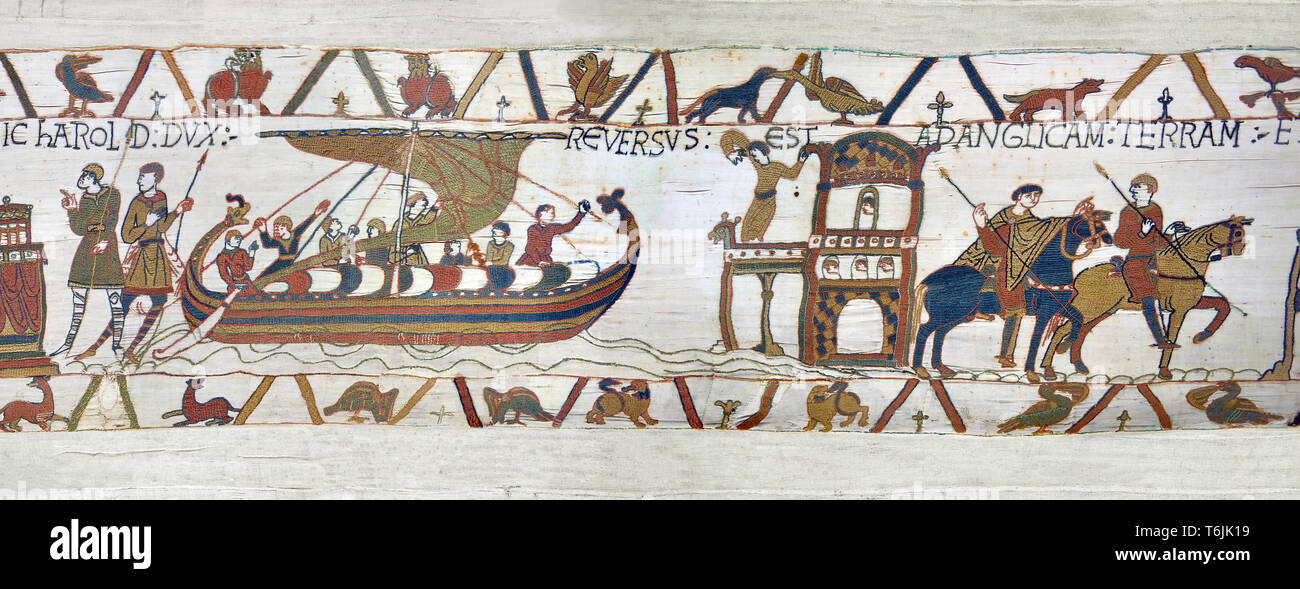 Bayeux Tapestry close up - Scene 24 - Harold sails back to England from Normandy - Stock Image