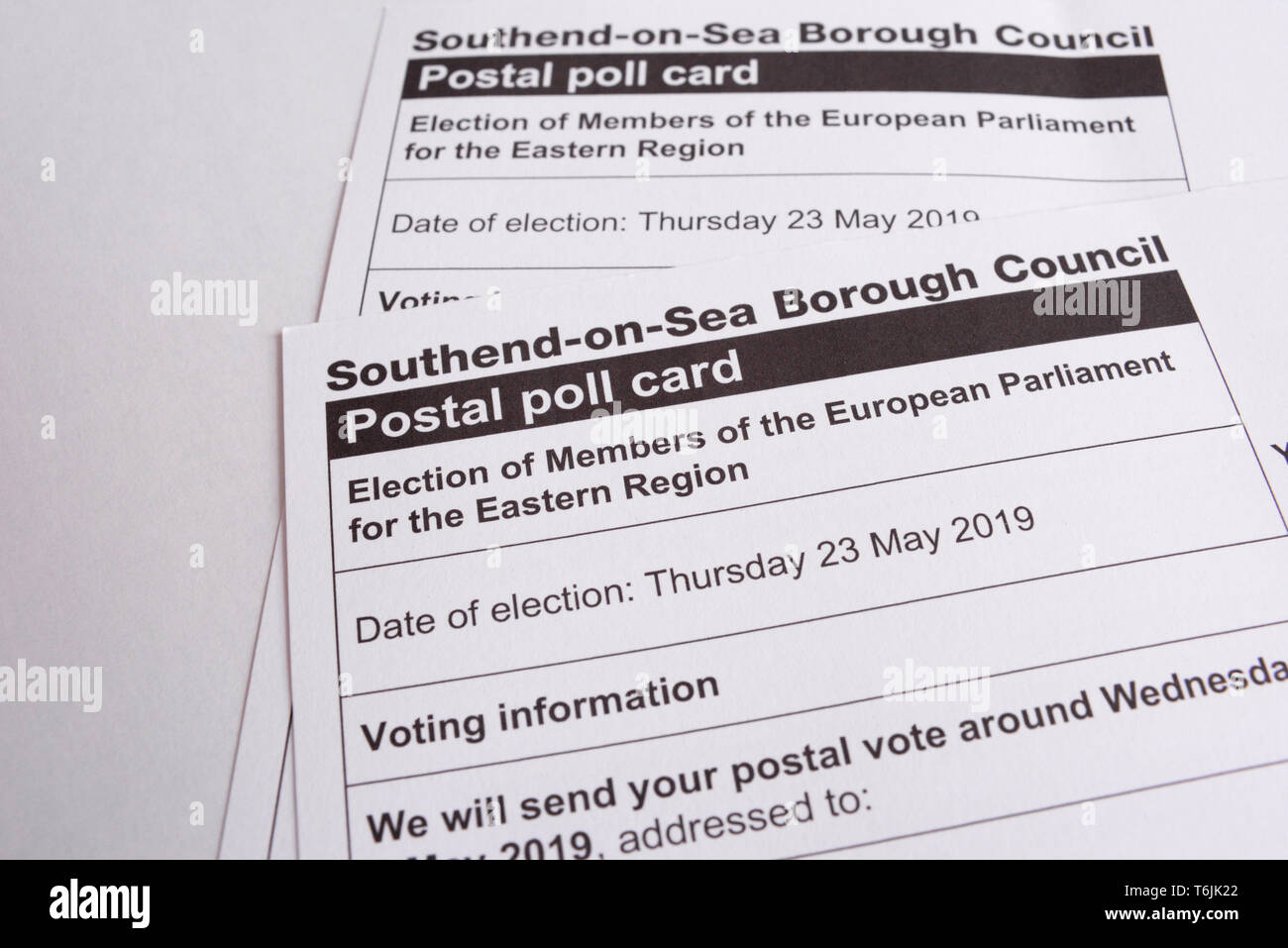 European Parliament election, 2019, postal polling card. Election of Members of the European Parliament for the Eastern Region. Southend on Sea, Essex - Stock Image