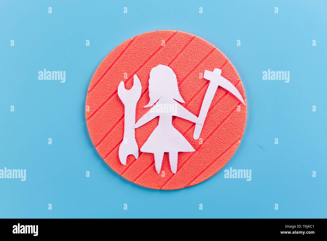 woman renovating a house concept.paper cut Stock Photo