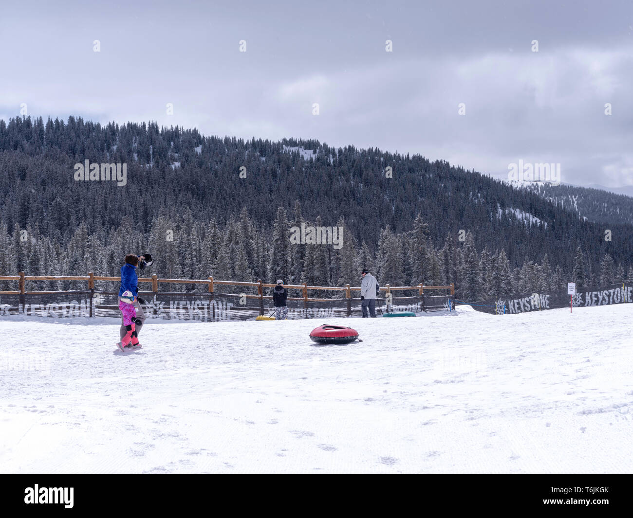 Snow tubing at Keystone Ski Resort, Keystone, Colorado, USA. - Stock Image