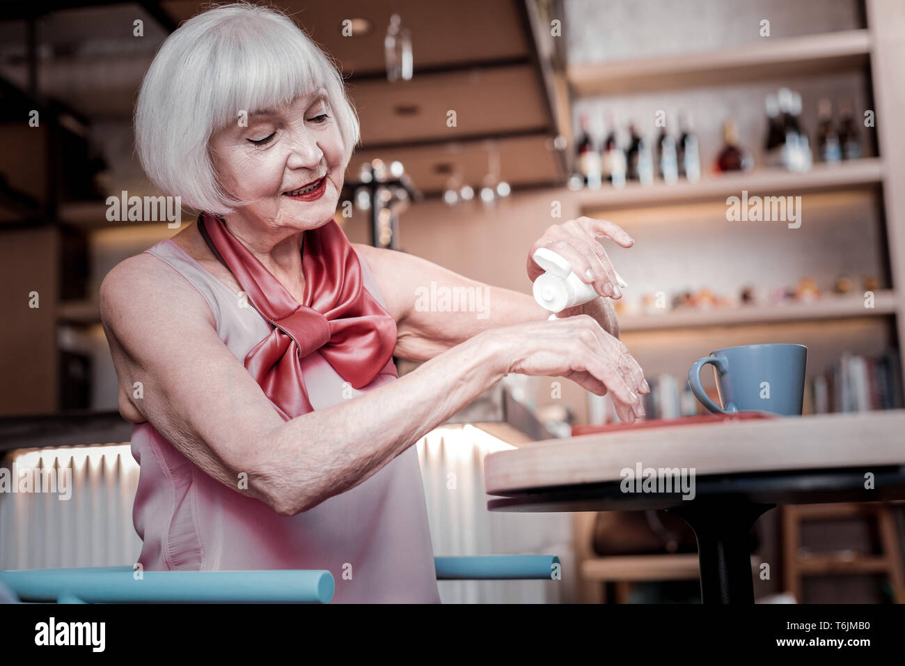 Beaming good-looking senior woman resting in a cafe and treating - Stock Image