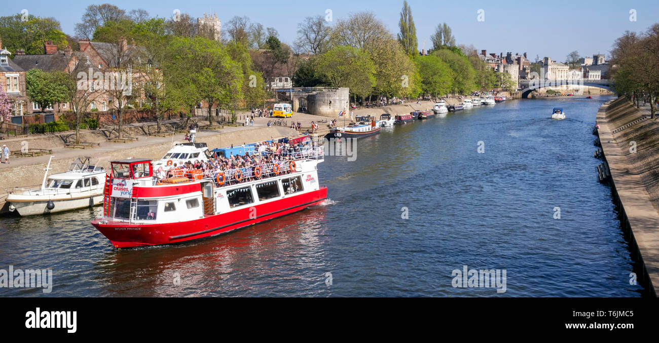 A packed Spring cruise from Lendal Bridge, River Ouse, City of York, UK - Stock Image