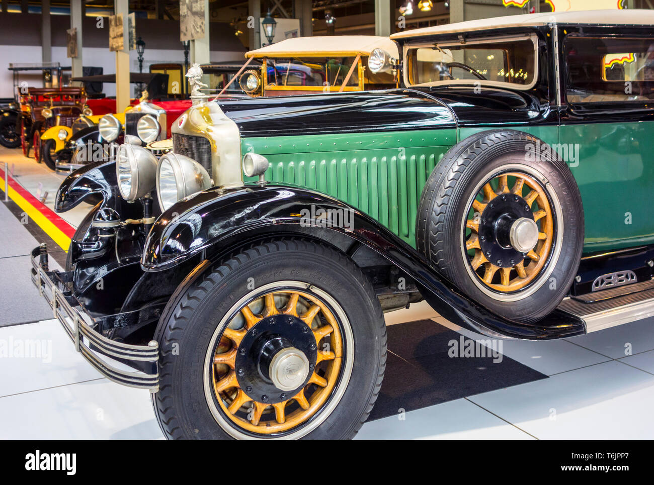 1929 Minerva Type AE Faux Cabriolet, Belgian classic automobile / oldtimer / antique vehicle at Autoworld, vintage car museum in Brussels, Belgium - Stock Image