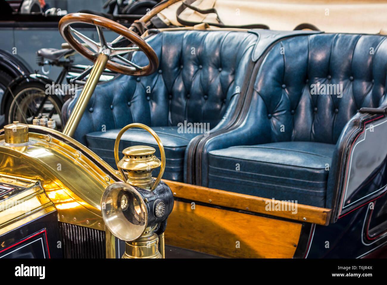Kerosene oil headlamp of 1909 Renault Type AX, classic automobile / oldtimer / antique vehicle at Autoworld, vintage car museum in Brussels, Belgium - Stock Image