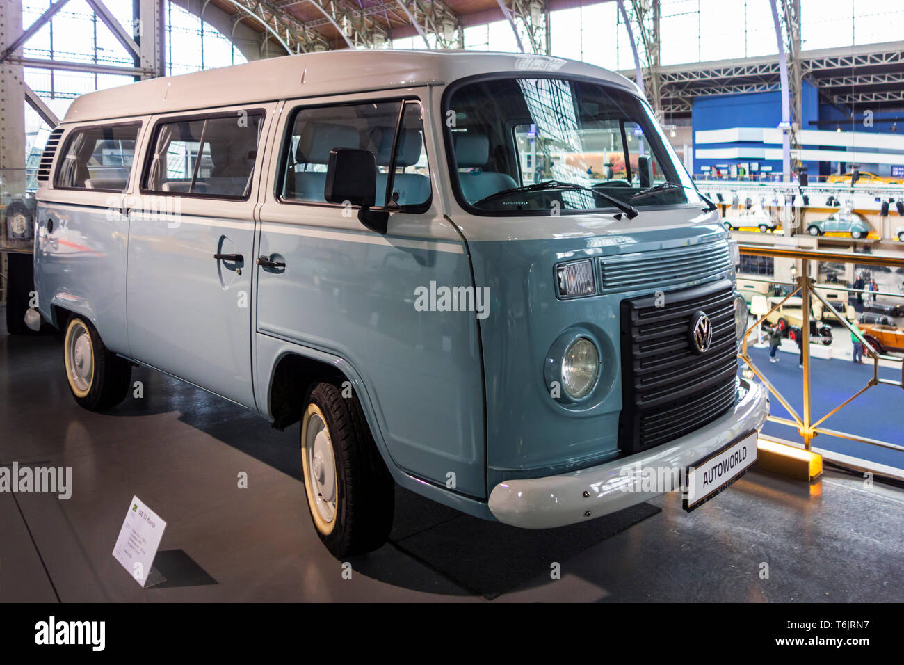 2013 VW T2 Kombi Last Edition, Volkswagen Bus, German classic microbus camper at Autoworld, vintage car museum in Brussels, Belgium - Stock Image