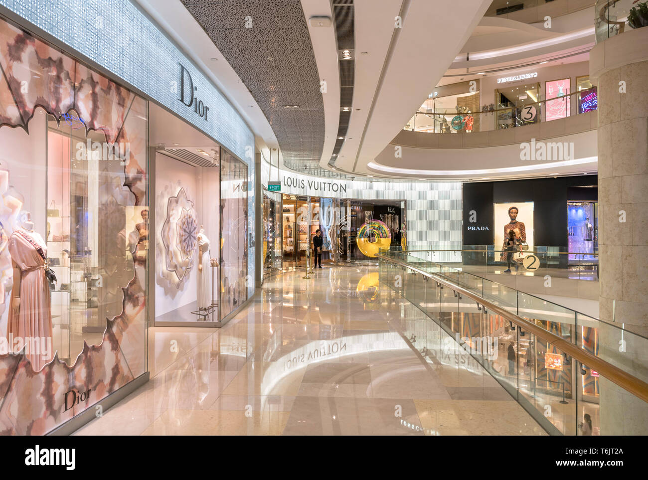 Luxury stores in Ion Orchard Mall, Orchard Road, Singapore City, Singapore - Stock Image