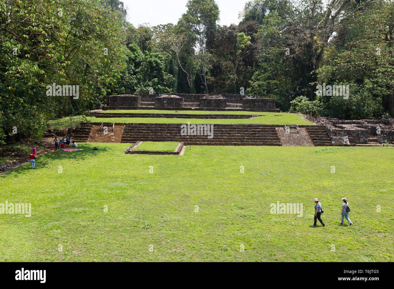 Quirigua Guatemala - the acropolis, Quirigua mayan ruins UNESCO World Heritage site, Quirigua Guatemala Central America - Stock Image
