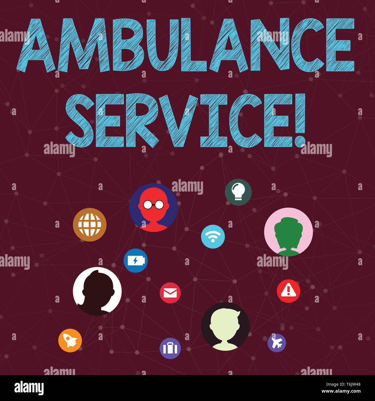 Handwriting text Ambulance Service. Conceptual photo emergency response wing of the National Health Service Networking Technical Icons with Chat Heads - Stock Image