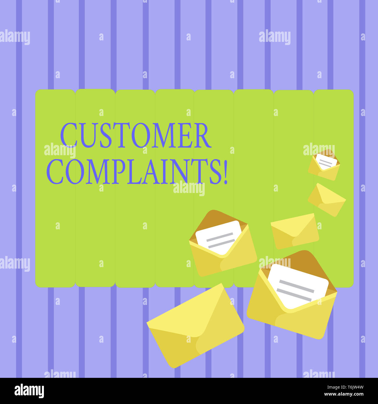 Writing note showing Customer Complaints. Business concept for expression of dissatisfaction on a consumer s is behalf Closed and Open Envelopes with  - Stock Image