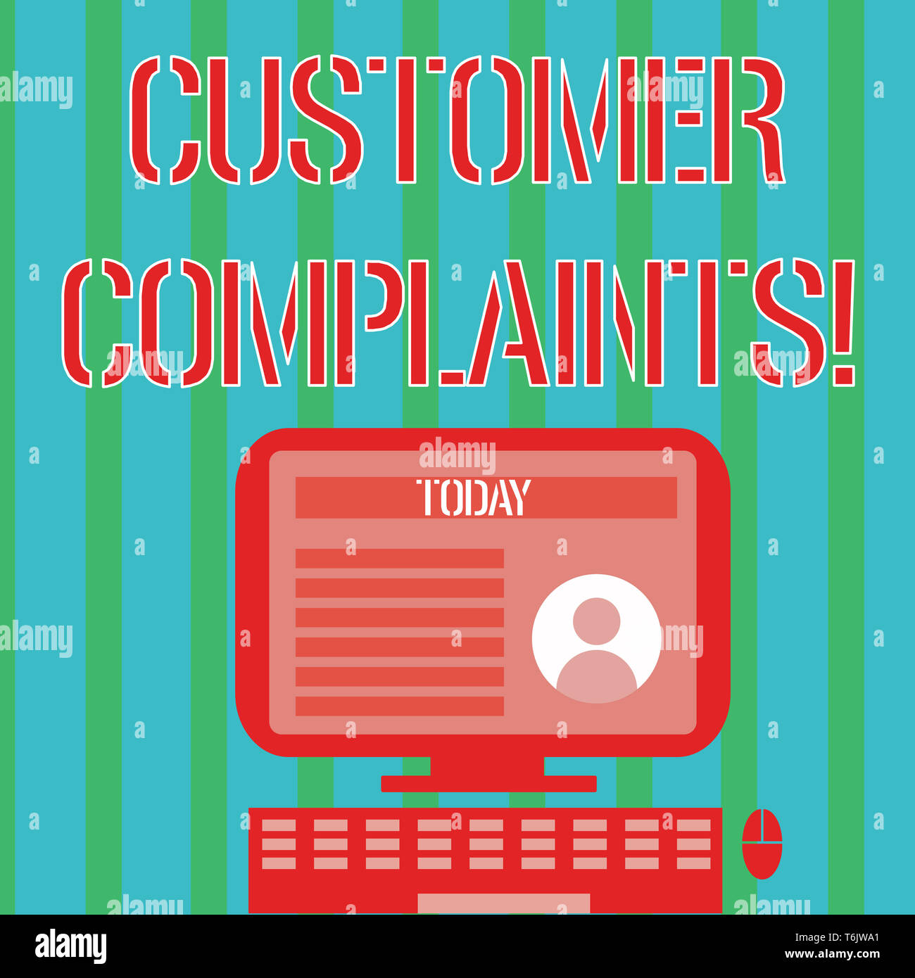Handwriting text Customer Complaints. Conceptual photo expression of dissatisfaction on a consumer s is behalf Desktop Computer Mounted on Stand with  - Stock Image