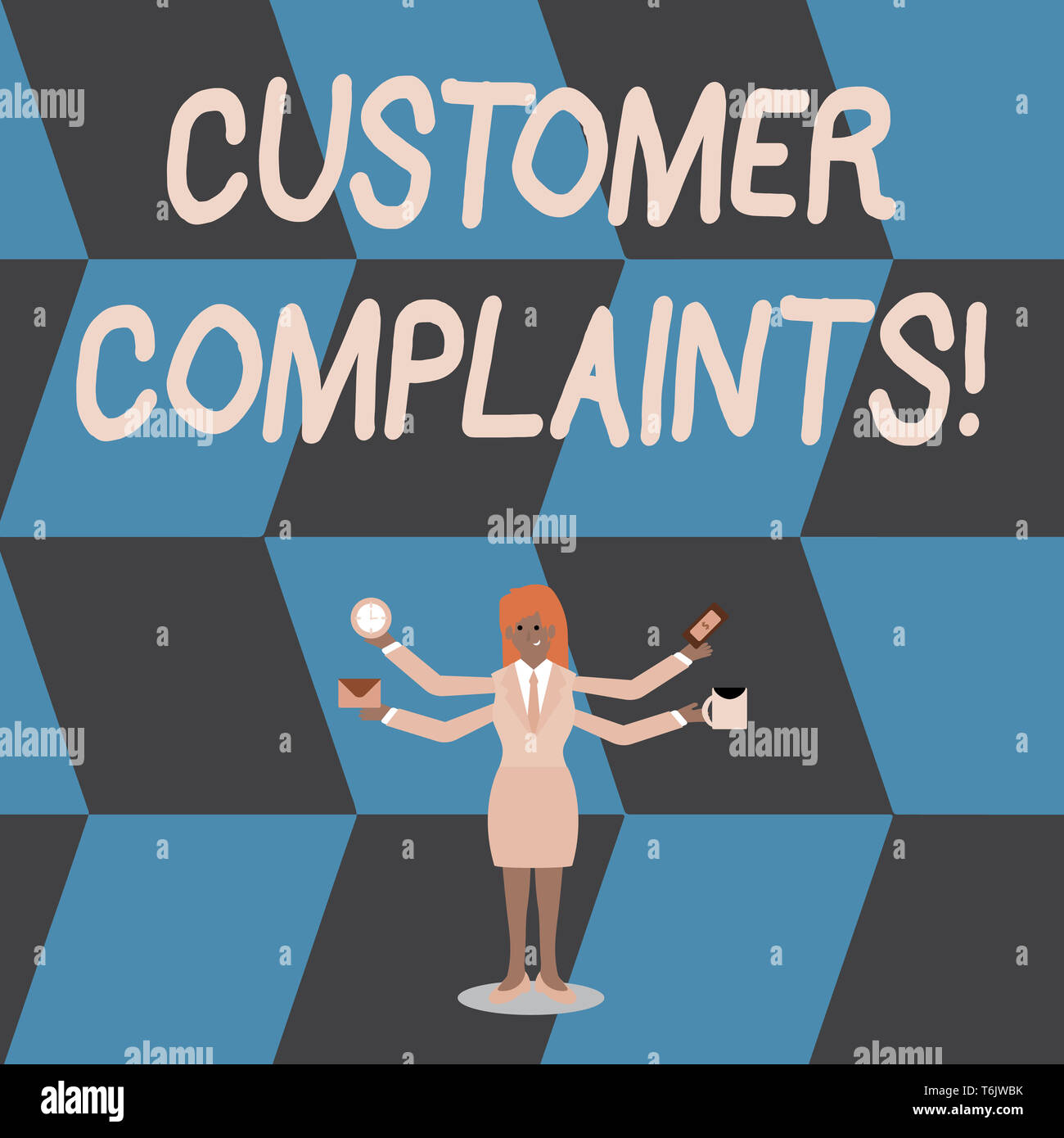 Writing note showing Customer Complaints. Business concept for expression of dissatisfaction on a consumer s is behalf Woman with Four Arms Extending  - Stock Image