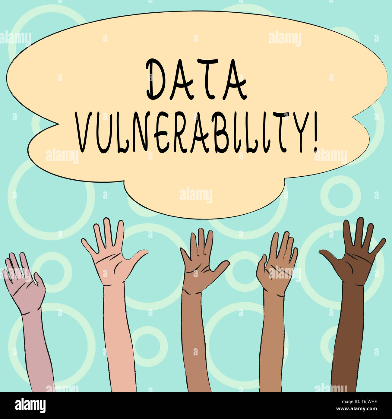 Conceptual hand writing showing Data Vulnerability. Concept meaning weakness of a data which can be exploited by an attacker Multiracial Hands Raising - Stock Image