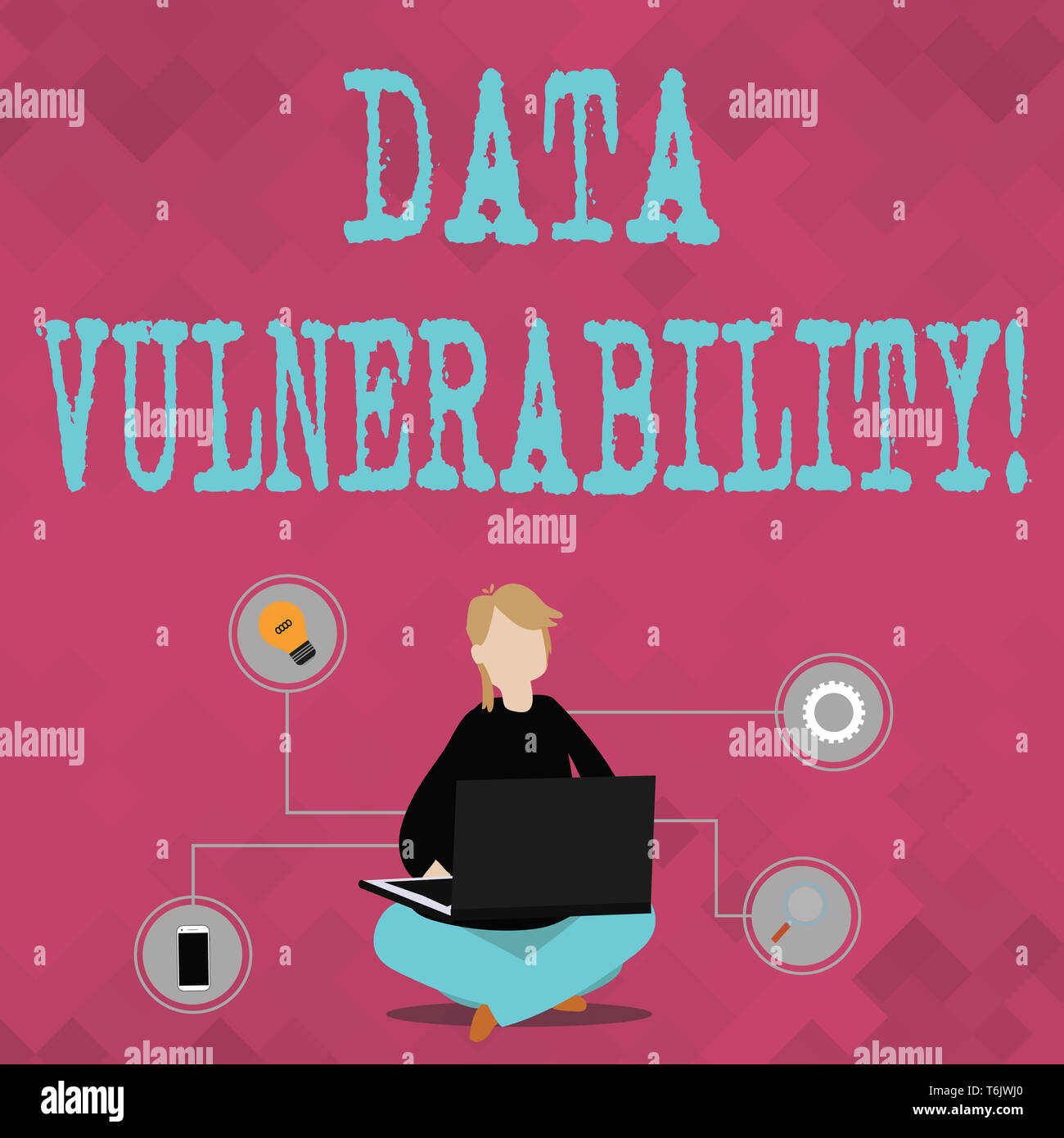Writing note showing Data Vulnerability. Business concept for weakness of a data which can be exploited by an attacker Woman Sitting with Crossed Legs - Stock Image