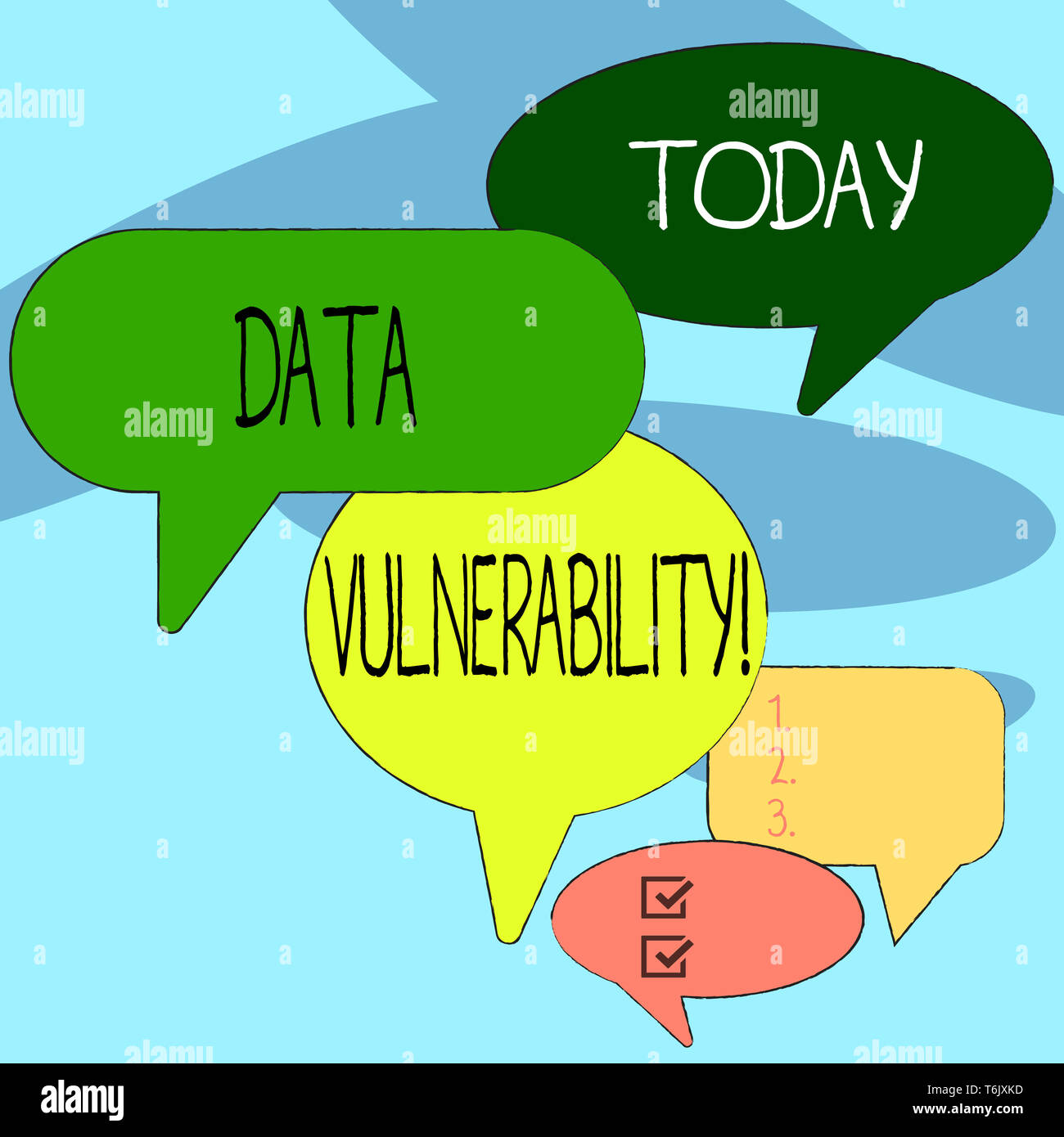 Handwriting text writing Data Vulnerability. Conceptual photo weakness of a data which can be exploited by an attacker Many Color Speech Bubble in Dif - Stock Image