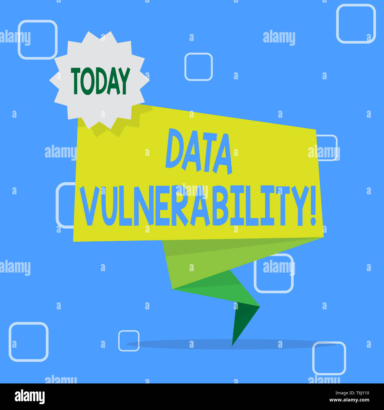 Handwriting text Data Vulnerability. Conceptual photo weakness of a data which can be exploited by an attacker Blank Space Green Two Tone Folded Back  - Stock Image