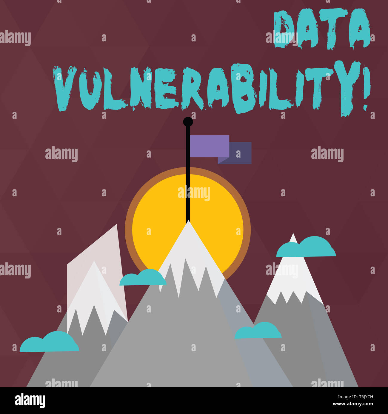 Conceptual hand writing showing Data Vulnerability. Concept meaning weakness of a data which can be exploited by an attacker Three High Mountains with - Stock Image