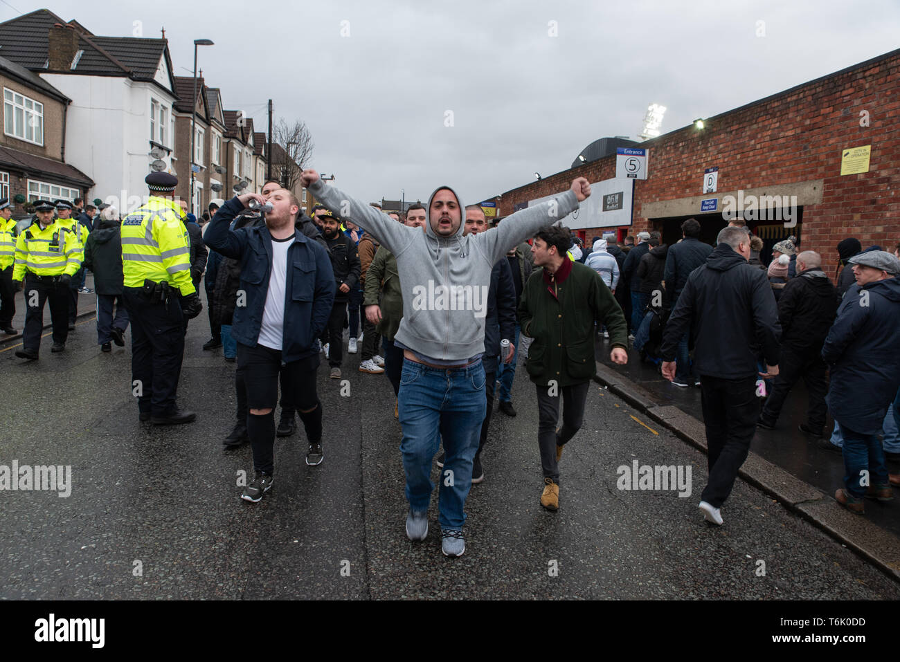 Tottenham Hotspur's fans at a FA Cup tie against Crystal Palace, Selhurst Park, London. January 2019 - Stock Image