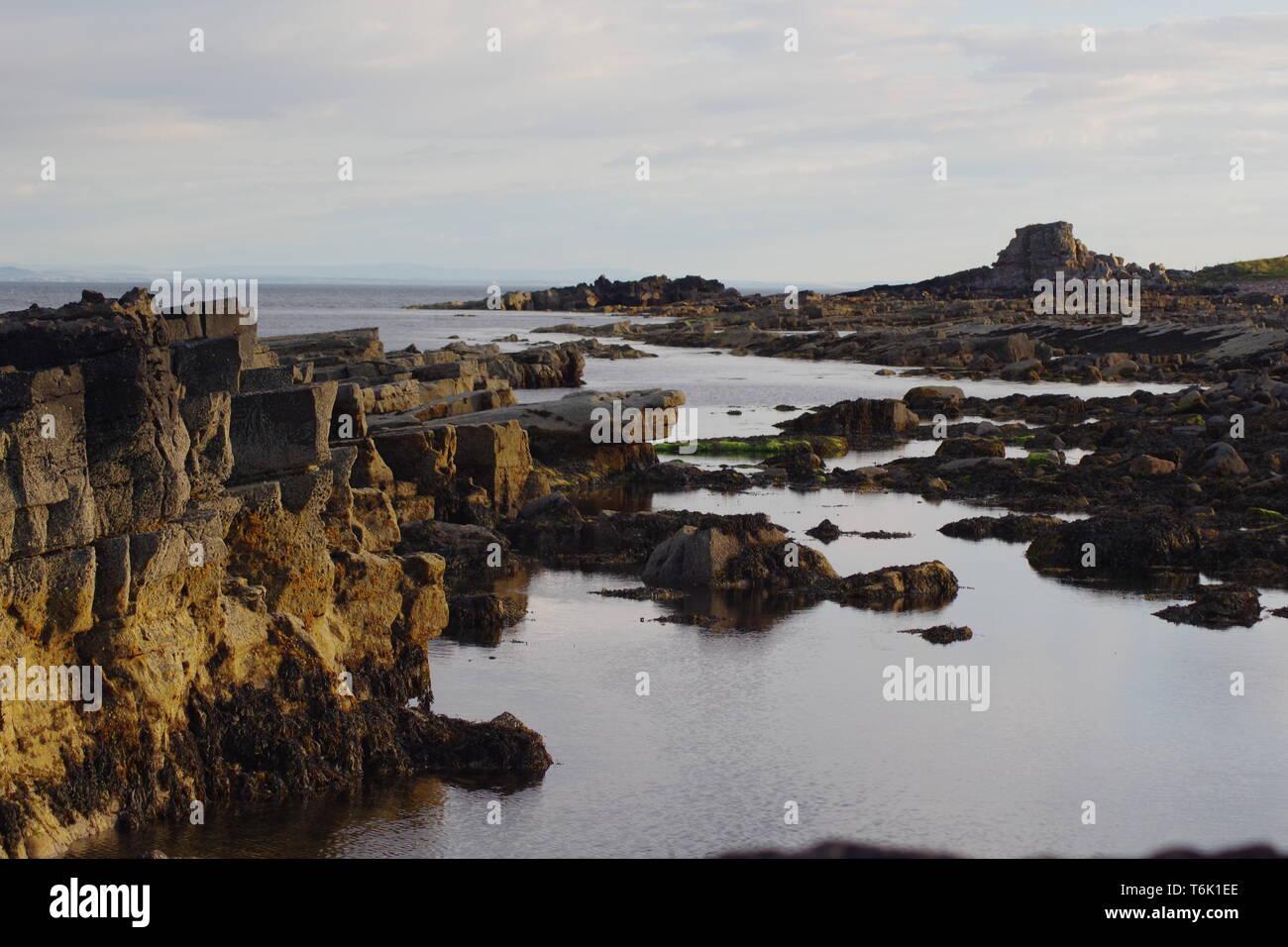 Carboniferous Sandstone Exposed along the Fife Coast. Scotland, UK. Stock Photo