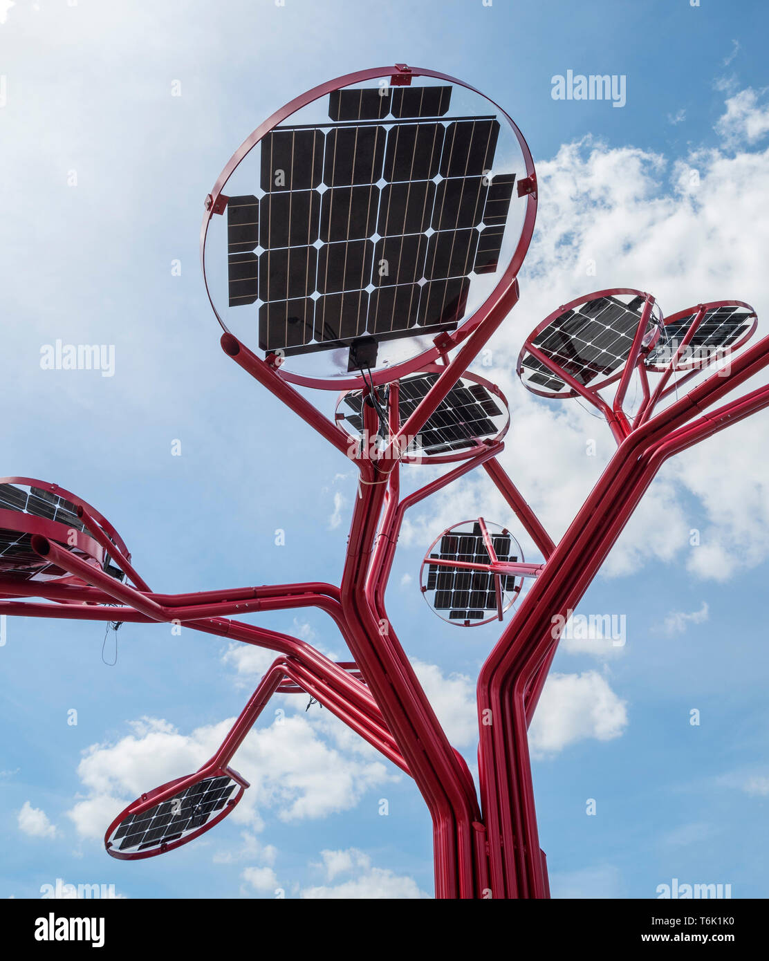 One of seven solar trees that will stand about two stories
