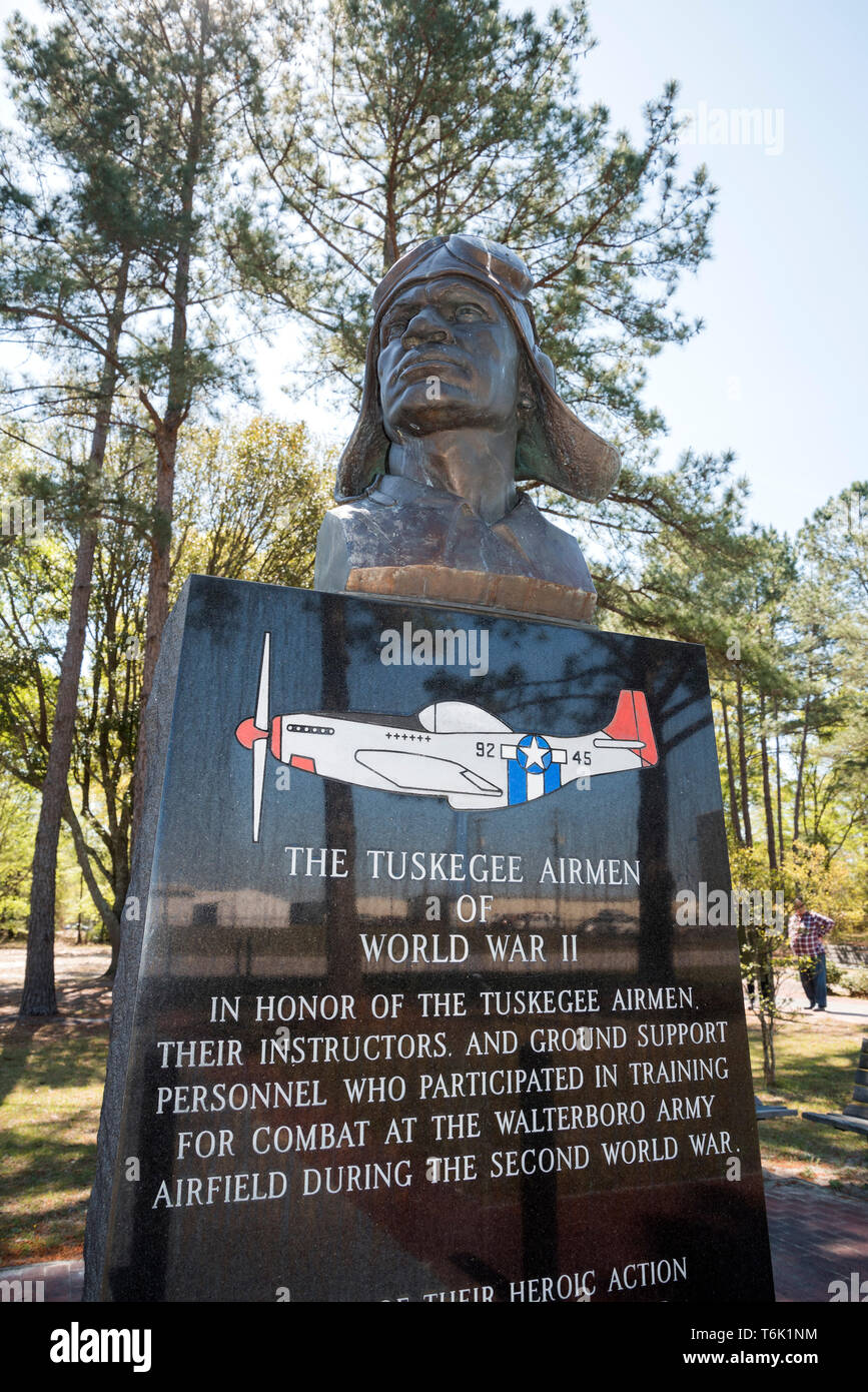 Tuskeegee Airmen Memorial Park at the Walterboro, South Carolina, airport, honoring the brave African-American airmen who served in WW2. - Stock Image