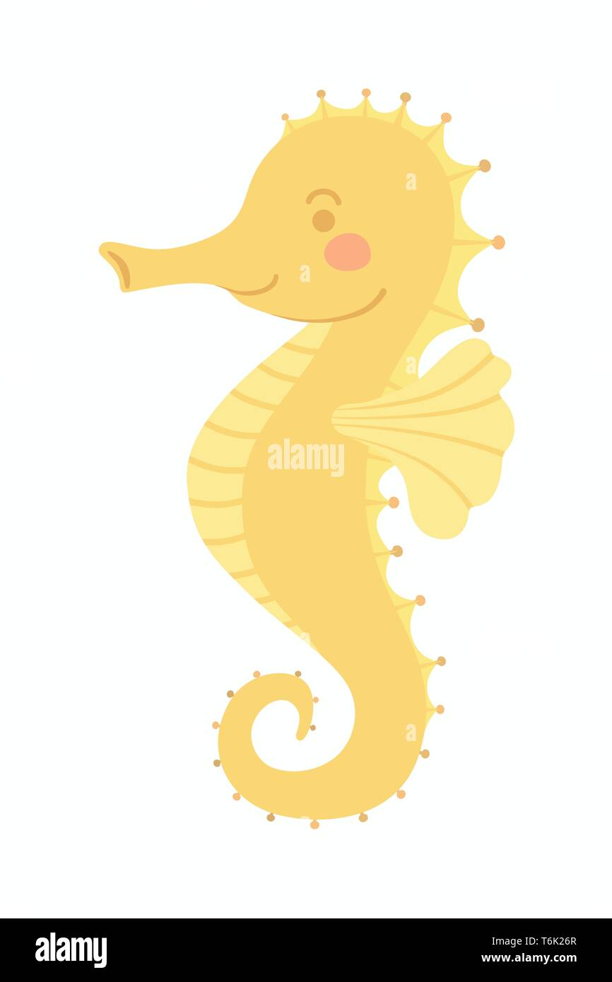Cute Smiling Yellow Seahorse Sea Animal Vector Illustration Cartoon Character Design Isolated On White Background Stock Vector Image Art Alamy