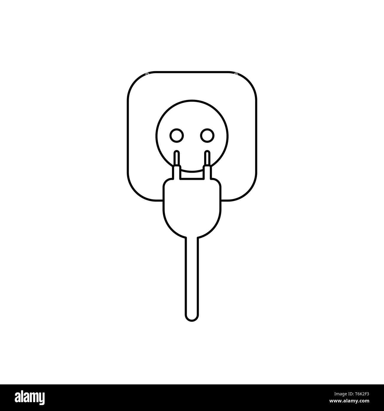 Vector icon concept of plug with cable and outlet. Black outlines. Stock Vector