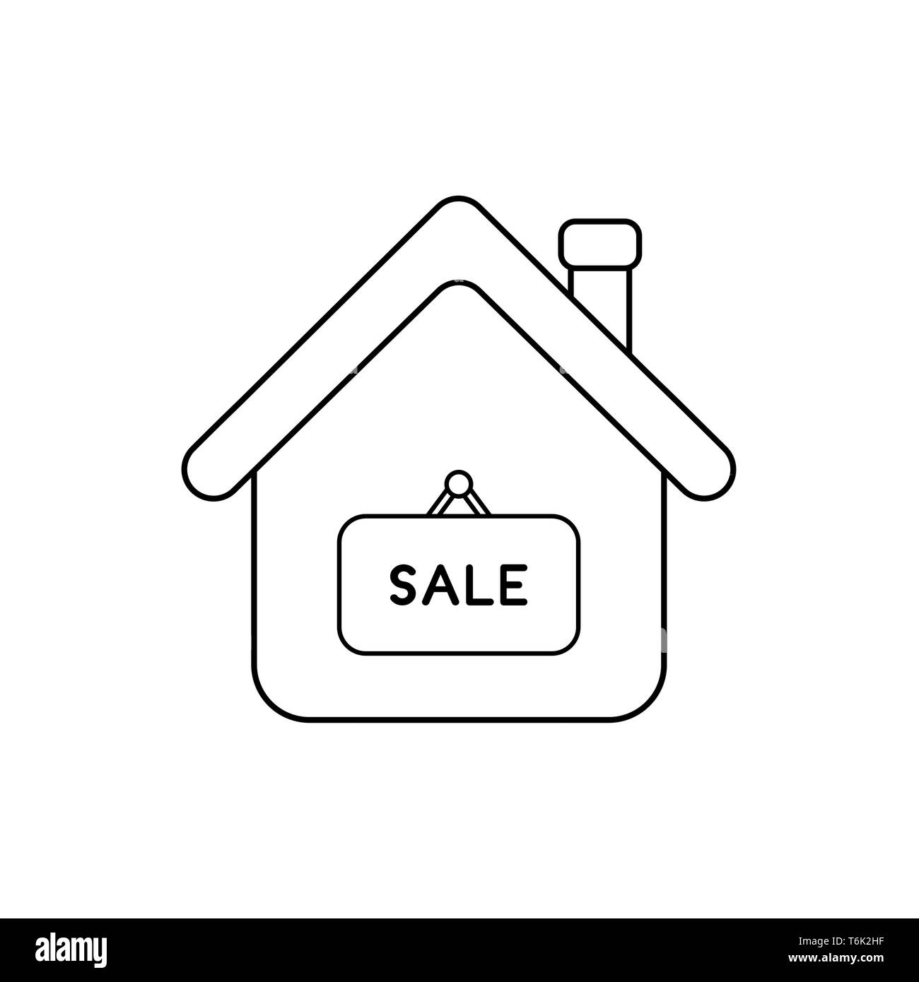 Vector icon concept of house with sale word written on hanging sign. Black outlines. - Stock Image