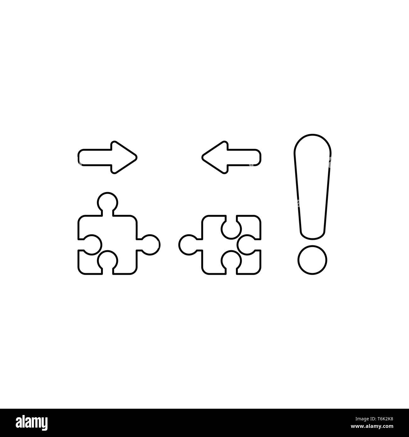 Vector icon concept of two pieces of jigsaw puzzle pieces that are incompatible with each other and red exclamation mark. Black outlines. Stock Vector