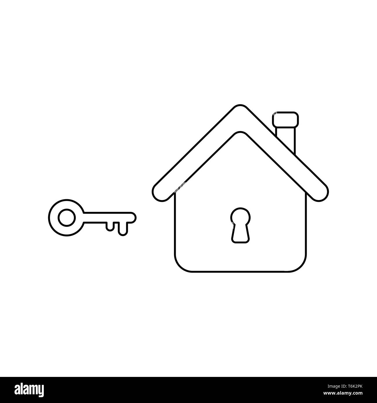 Vector icon concept of key lock or unlock house keyhole. Black outlines. - Stock Image