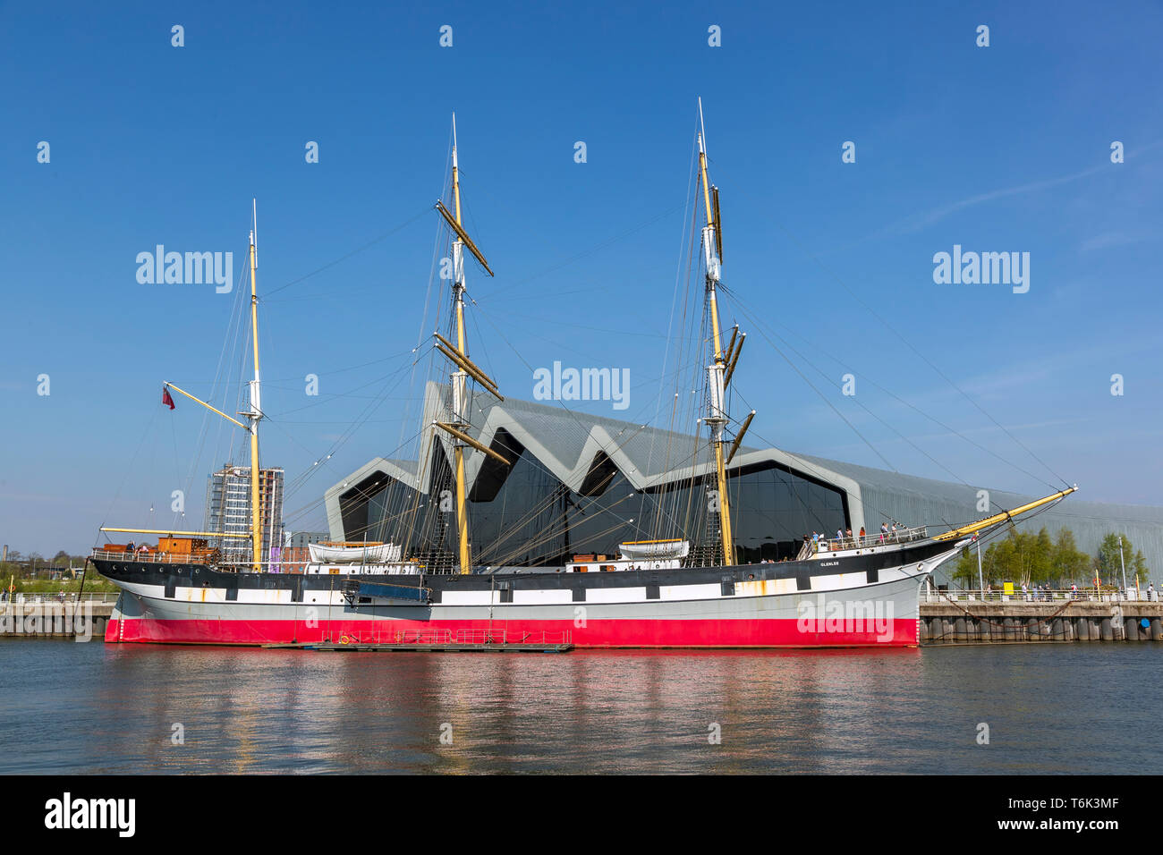 Glenlee tall ship, built in 1896, a three masted barque,  now berthed on the River Clyde at the Riverside transport museum, Glasgow, Scotland, UK Stock Photo