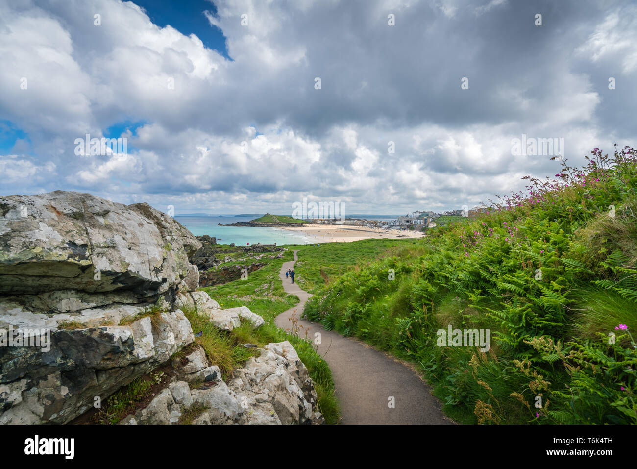 Coastal pathway in St Ives - Stock Image